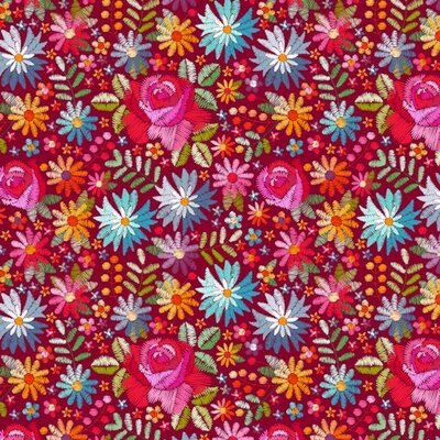 Bumbac imprimat digital - Embroidery Flowers Red