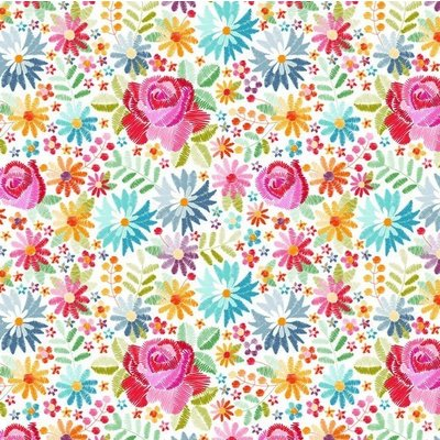 Bumbac imprimat digital - Embroidery Flowers White