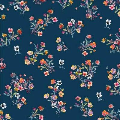 Bumbac imprimat digital - Flowers Navy