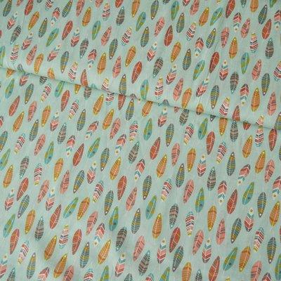 Bumbac Imprimat - Feathers Mint