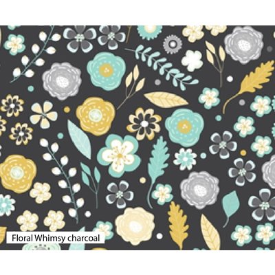 Bumbac Imprimat - Floral Whimsy Charcoal