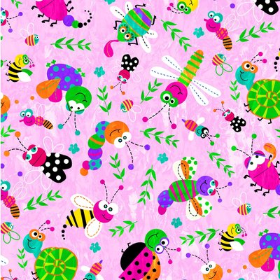 Bumbac Imprimat - Happy Bugs Pink