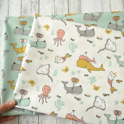 Bumbac Imprimat - Happy Ocean Animals