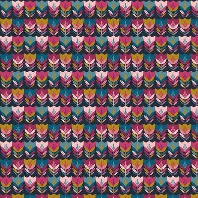 Bumbac imprimat - Happy Tulips Navy