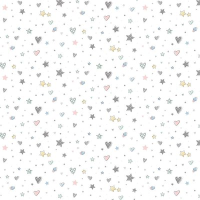 Bumbac imprimat - Hearts and Stars White