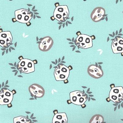Bumbac Imprimat - Little Panda Jade