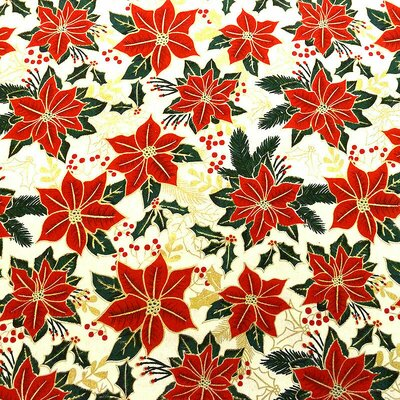 Bumbac Imprimat - Poinsettia Metallic Cream