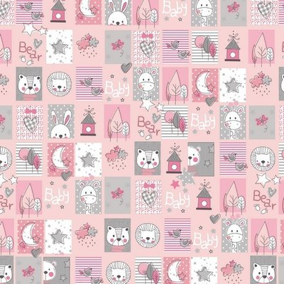 Bumbac imprimat - Sweet Animals Pink