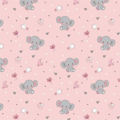 Bumbac imprimat - Sweet Elephant Pink