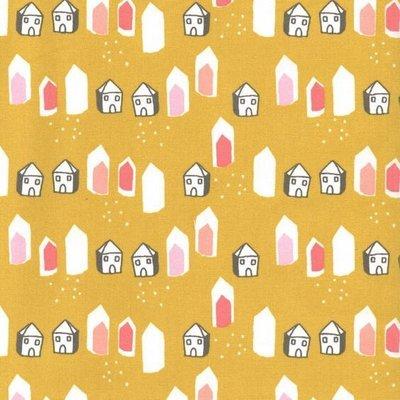 Bumbac imprimat - Village Mustard