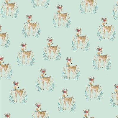 Bumbac imprimat - Woodland Deer Mint