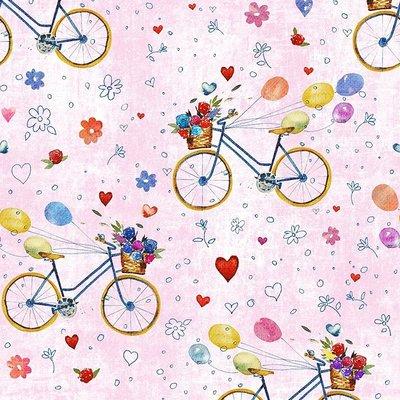 Fat Quarter - Bicycle Pink- 45x45 cm