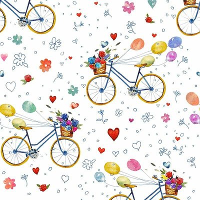 Fat Quarter - Bicycle White - 45x45 cm