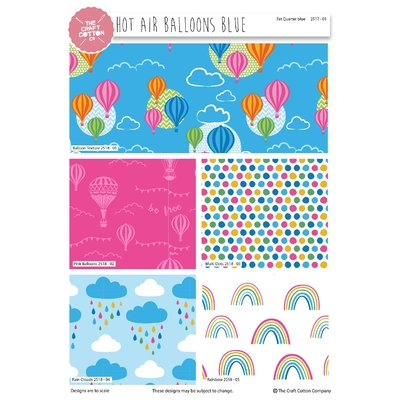 Hot Air Balloons Blue - Set Fat Quarters