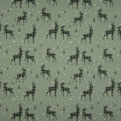 Jerse Bumbac imprimat - Deer Vintage Green