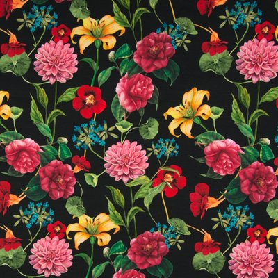 Jerse Bumbac imprimat digital - Flowers black