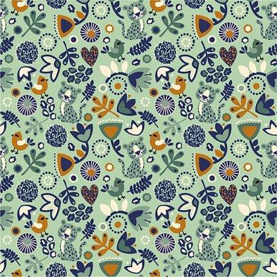 Jerse bumbac imprimat - Flower Combo Mint