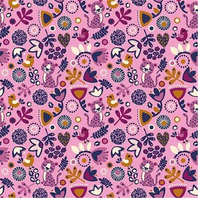 Jerse bumbac imprimat - Flower Combo Pink