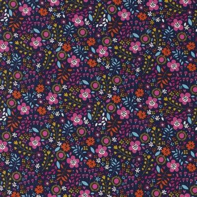 Jerse bumbac - Spring Floral Navy