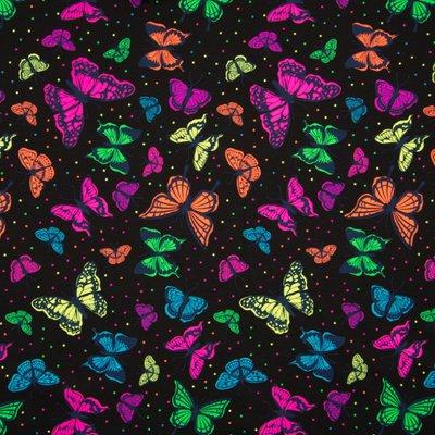 Jerse de bumbac imprimat - Neon Butterflies