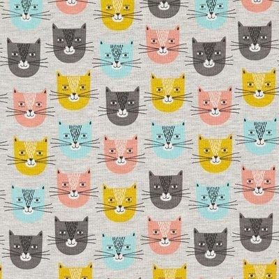 Jerse Sweat Melange - Smiley Cat Grey
