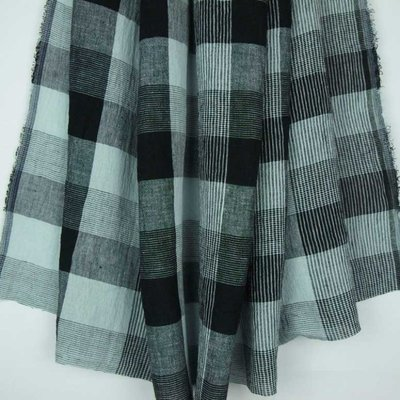 Material 100% In - Linen Checks Black/Mint