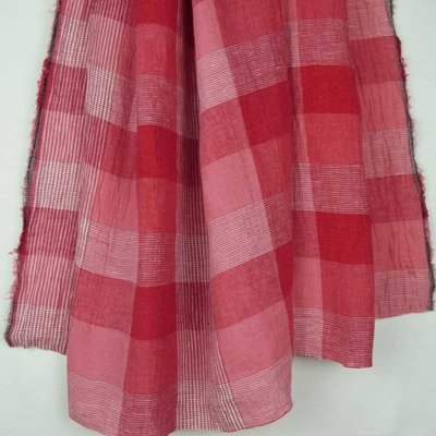 Material 100% In - Linen Checks Red/Rose