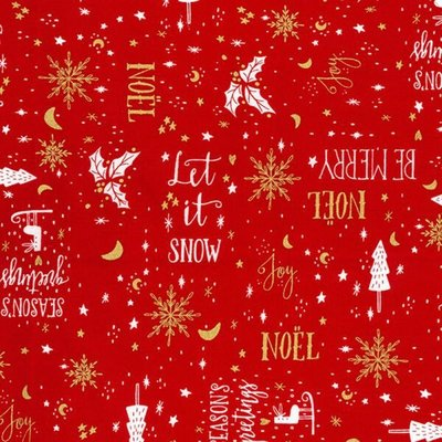 Material bumbac - Christmas Greetings Red