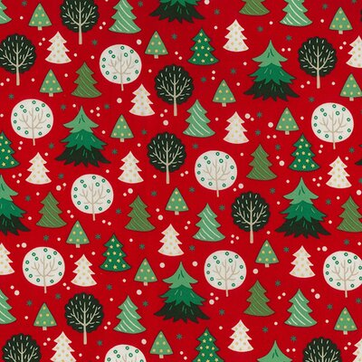 Material bumbac - Christmas Trees Red