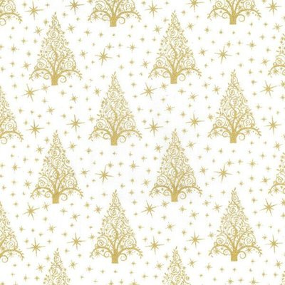 Material bumbac - Christmas Trees White-Gold