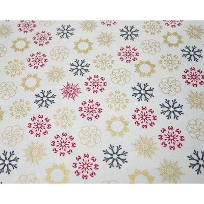 Material bumbac - Multi Snowflakes Yvory