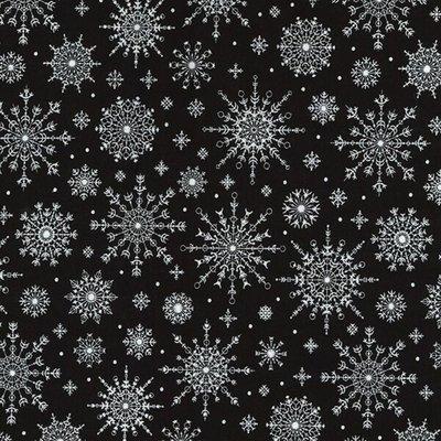 Material bumbac - Snowflakes Black