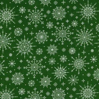 Material bumbac - Snowflakes Green