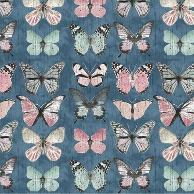 Material Canvas Bumbac - Butterflies Blue