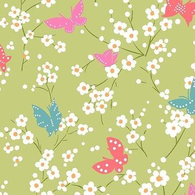 Material designer Michael Miller -Butterfly Blossoms Grass