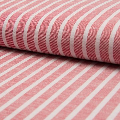 Material din amestec de in si bumbac - Red Stripe