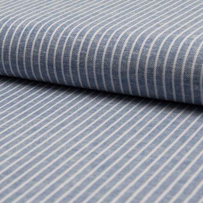 Material din amestec de in si vascoza - Jeans Stripe