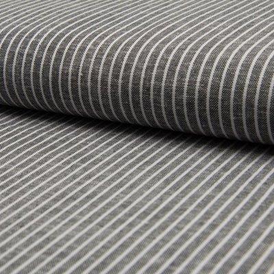 Material din amestec de in si vascoza - Black Stripe