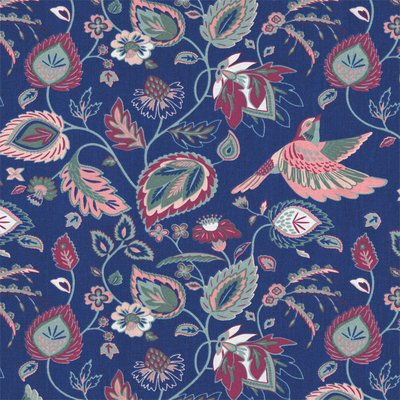 Material Home Decor - Indian Flowerbird Navy