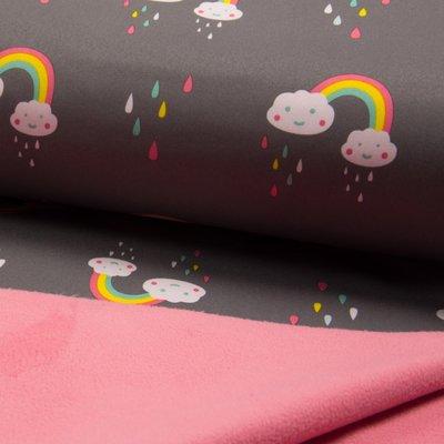 Material impermeabil si calduros Soft Shell - Rainbow Grey