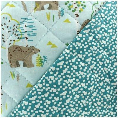 Material matlasat din bumbac - Bears Blue