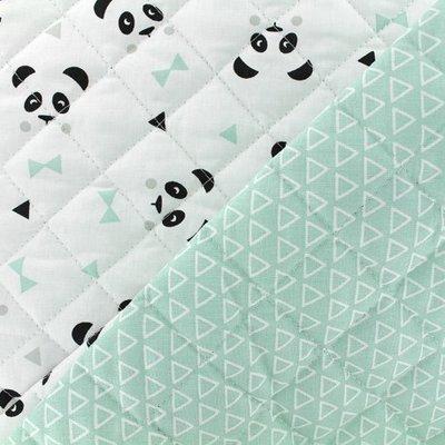 Material matlasat din bumbac - Panda Mint