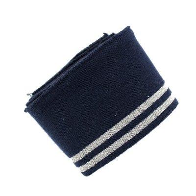 Material pentru mansete - Lurex Navy Silver 150x7 cm