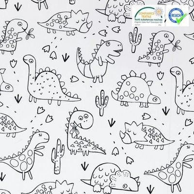 Material textil de colorat - Dino