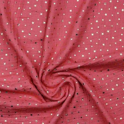 Muselina cu stelute aurii - Soft Red