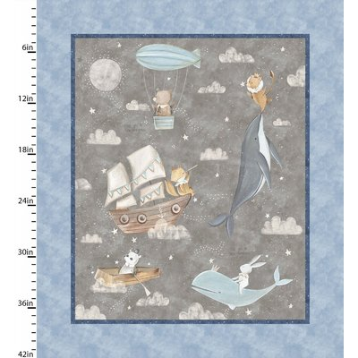 Panou textil - Adventures in the sky - 90 x 110 cm