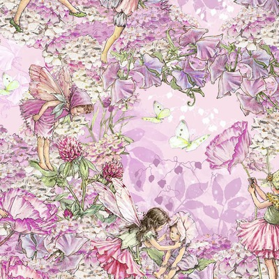 Materiale designer print Michael Miller - Petal Flower Fairies Pink