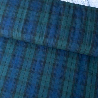 Poplin bumbac - Tartan Blue Green