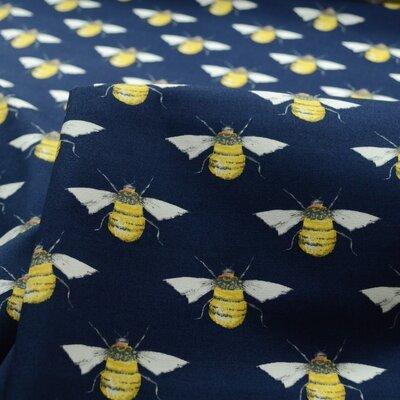 Poplin - Bumblebees Navy