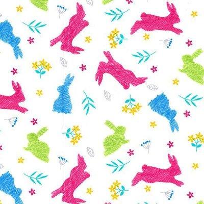 Poplin - Bunny Hop White